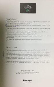 エル・コルテ・イングレスのShoppingLoversカードの説明書